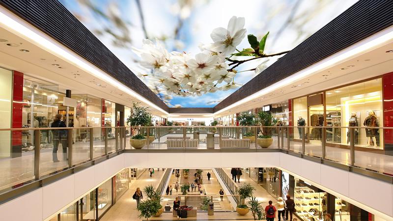 Alışveriş merkezlerinde gergi tavan